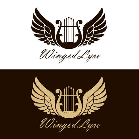 ancient winged lyre icons set isolated Ilustrace