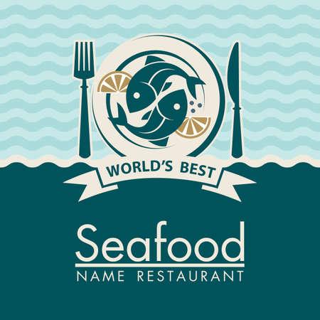 Meeresfrüchte-Menü-Design mit Fisch auf dem Teller Vektorgrafik