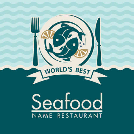 seafood menu design with fish on plate Vetores