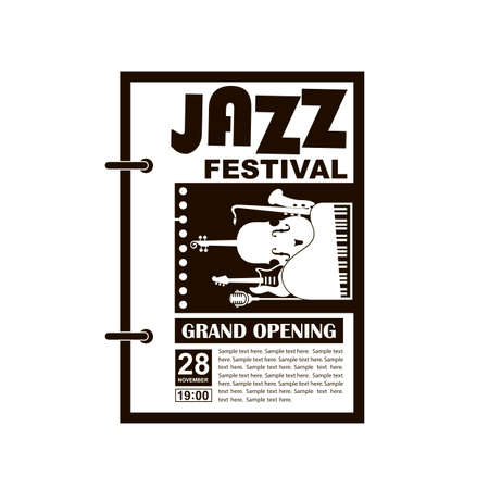 black jazz festival poster with music instruments