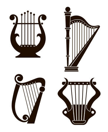 ancient harp and lyre icons collection isolated Vettoriali