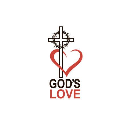 serce, korona cierniowa i ikona krzyża na białym tle
