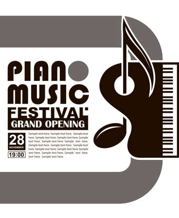 monochrome classical concert emblem with piano