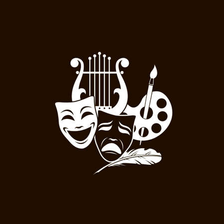 illustration of theatrical masks, lyre and palette isolated on black background