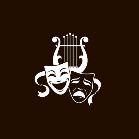 illustration of theatrical masks and lyre isolated on black background