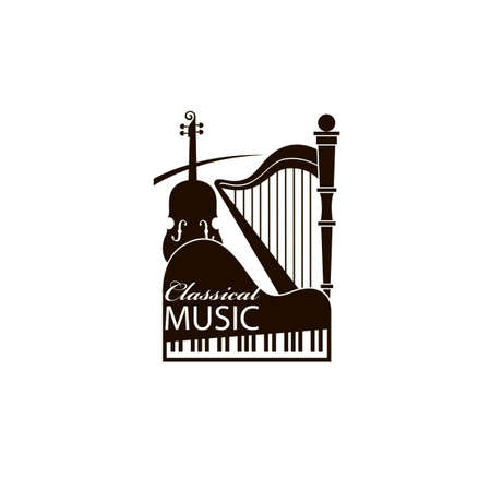 monochrome classical concert emblem with piano, harp and violin Ilustracja
