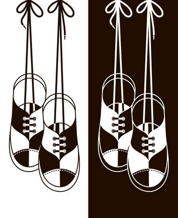 illustration with sport shoes hanging on shoelaces