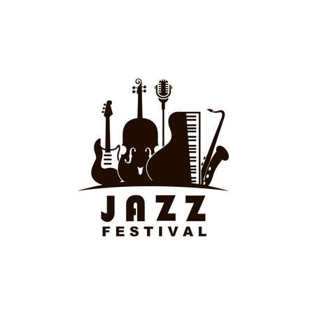 black jazz festival emblem with music instruments 일러스트