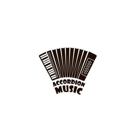 Emblem des abstrakten Musikinstruments Akkordeon isoliert auf weißem Hintergrund