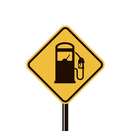 signer avec la buse de la pompe à essence isolé sur fond jaune
