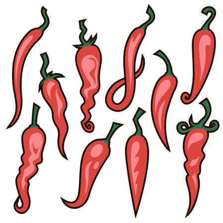 collection of red hot chili peppers isolated on white background