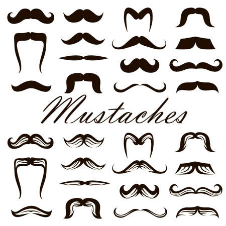 black collection of various retro mustaches isolated on white background