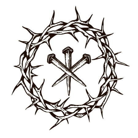 Image de jésus clous avec couronne d'épines isolé sur fond blanc