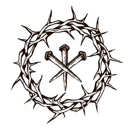 Imagen de Jesús clavos con corona de espinas aislado sobre fondo blanco.