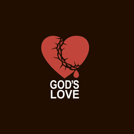 heart and crown of thorns icon isolated on black background