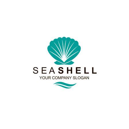 emblem of blue seashell isolated on white background Çizim