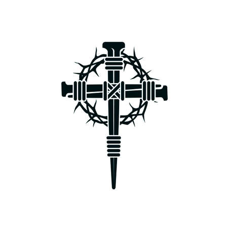 image of jesus nail cross with thorn crown isolated on white background Illusztráció
