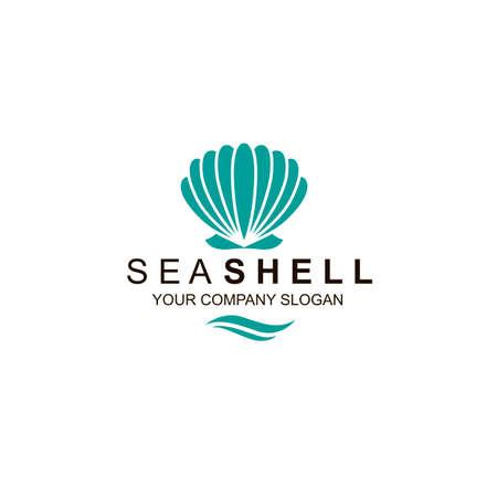 emblem of blue seashell isolated on white background