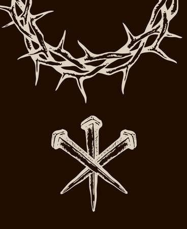 Bild von Jesus Nägel mit Dornenkrone auf schwarzem Hintergrund isoliert