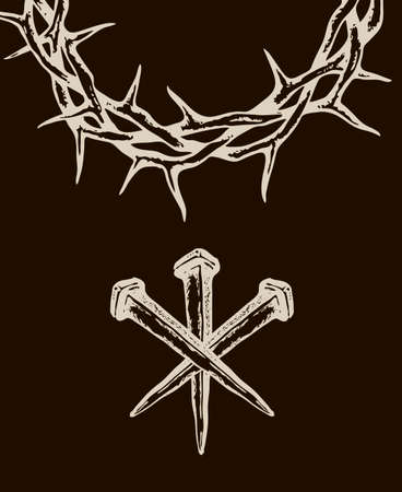 image of jesus nails with thorn crown isolated on black background