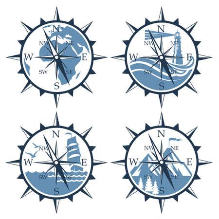 Colección náutica de brújula aislado sobre fondo blanco. Ilustración de vector