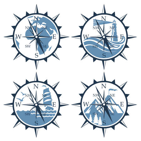 nautical collection of compass isolated on white background Vector Illustratie