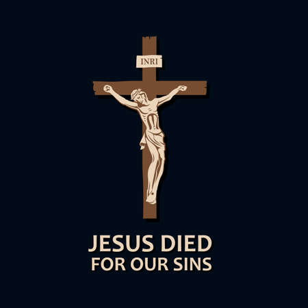 illustration with crucifixion of jesus on cross isolated on dark background