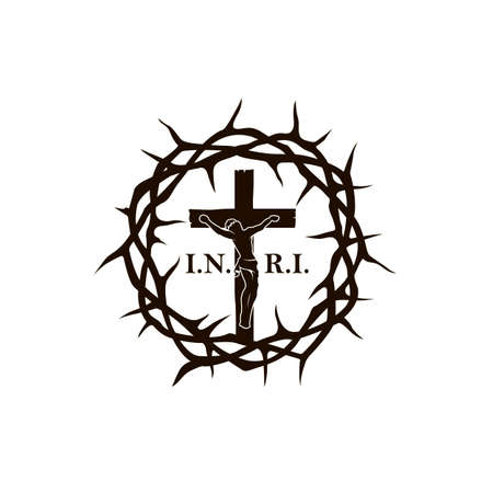 illustration with thorn crown and crucifixion of jesus on cross isolated on white background