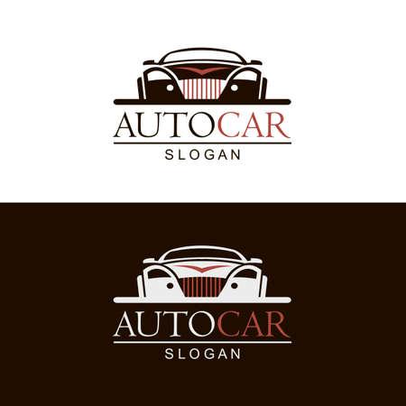 set of car emblems on black and white background Illustration