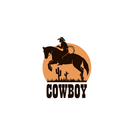 cowboy silhouette with lasso on horse icon isolated on white background for western
