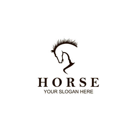 monochrome icon of horse head isolated on white background