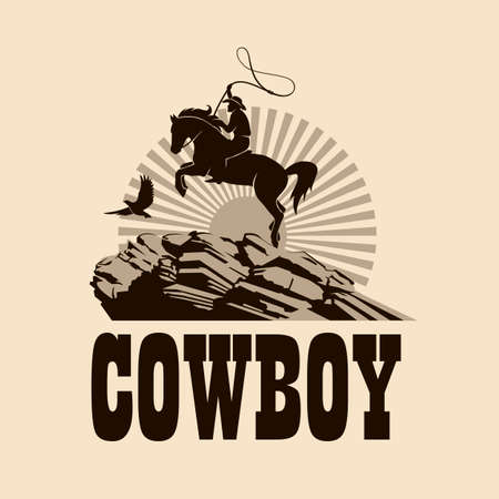 western cowboy silhouette with lasso on horse illustration with mountains