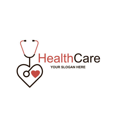 abstract medical halth care icon with stethoscope and heart isolated on white background