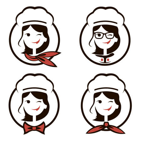 collection of chef woman icon isolated on white background