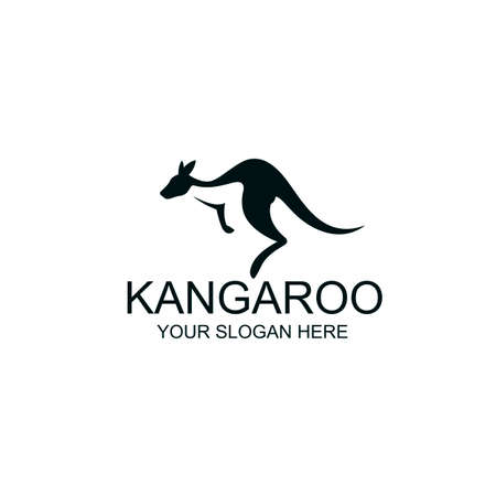 abstract jumping kangaroo icon isolated on white background Vettoriali