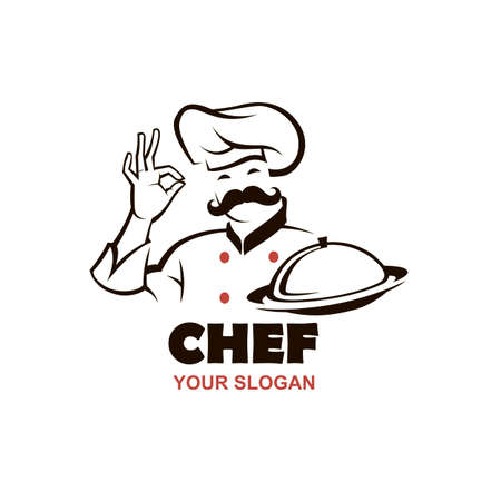 mustached chef man design with dish in hand isolated on white background