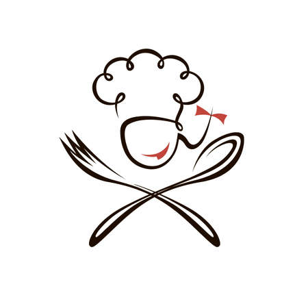chef woman design with spoon and fork isolated on white background Vettoriali