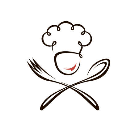 abstract chef man design with spoon and fork isolated on white background