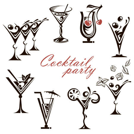 collection of different cocktail glasses isolated on white background