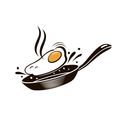 cooking process of fried egg on pan isolated on white background Illustration