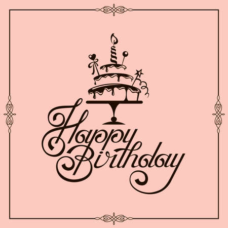 happy birthday card design with cake isolated on pink background Archivio Fotografico - 149669404