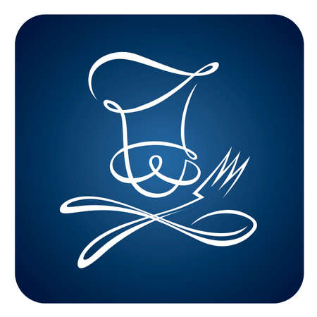 abstract chef with spoon and fork icon isolated on blue background