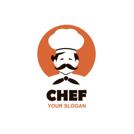 mustached chef man icon isolated on white background