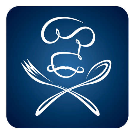 abstract chef with spoon and fork icon isolated on blue background Archivio Fotografico - 150298180