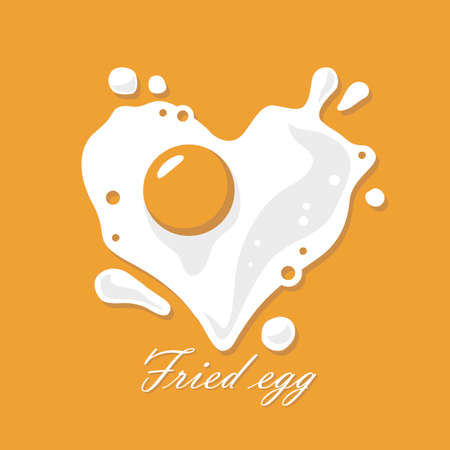 cooking process of fried egg as heart isolated on yellow background 일러스트