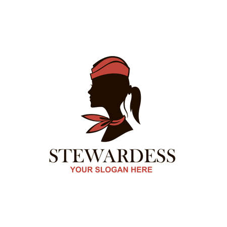 stewardess icon with neckerchief isolated on white background Ilustración de vector