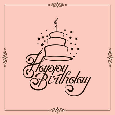 happy birthday card design with cake isolated on pink background