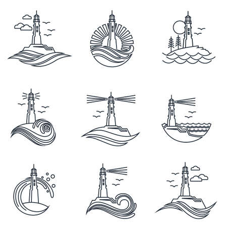 lighthouse line icon set with ocean waves and seagulls isolated on white background 일러스트