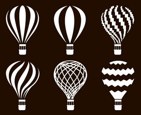 collection of hot air balloon icons isolated on black background