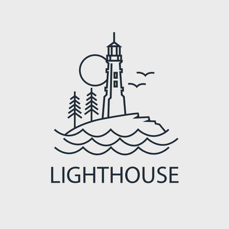 abstract lighthouse line icon with ocean waves and seagulls isolated on white background